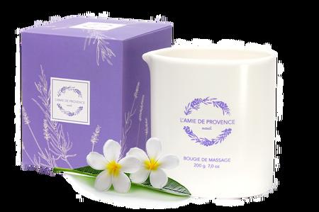 L'Amie de Provence naturalna świeca do masażu o egzotycznym zapachu kwiatu monoi.