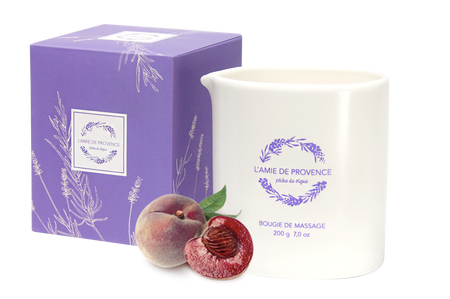 L'Amie de Provence naturalna świeca do masażu o zapachu winnej brzoskwini (pêche de vigne).