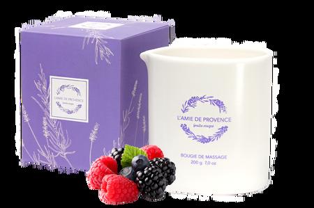 L'Amie de Provence naturalna świeca do masażu o kwiatowym zapachu owoców leśnych (fruits rouges).