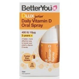 BetterYou DLUX Junior Witamina D w spray'u suplement diety dostarczana bezpośrednio do krwioobiegu.