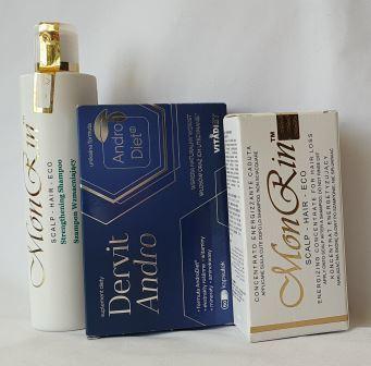 Dwumiesięczna Kuracja przeciw łysieniu androgenowym na bazie naturalnych trychokosmetyków MonRin