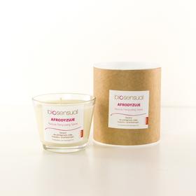 Biosensual Aroma-terapeutyczna Świeca AFRODYZUJE do masażu dłoni, stóp i ciała na bazie wosku sojowego i naturalnych olejków eterycznych.