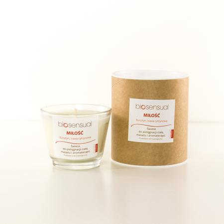 Biosensual Aroma-terapeutyczna Świeca MIŁOŚĆ do masażu na bazie wosku sojowego i naturalnych olejków eterycznych.