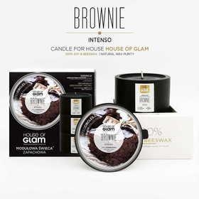 """HOUSE OF GLAM® """"Brownie Intenso"""" – Modułowa sojowa świeca o obłędnym czekoladowym zapachu."""