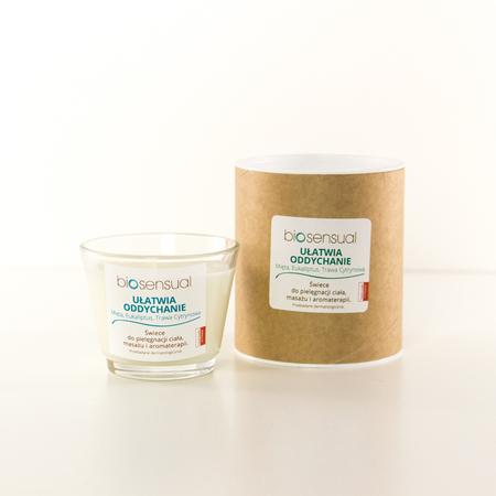 Biosensual Aroma-terapeutyczna Świeca UŁATWIA ODDYCHANIE do masażu dłoni, stóp i ciała na bazie wosku sojowego i naturalnych olejków eterycznych.