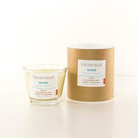 Biosensual Aroma-terapeutyczna Świeca WIARA do masażu dłoni, stóp i ciała na bazie wosku sojowego i naturalnych olejków eterycznych.