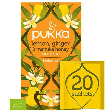 Herbata PUKKA Lemon, Ginger & Manuka Honey BIO prawdziwie rajska rozgrzewająca mieszanka.